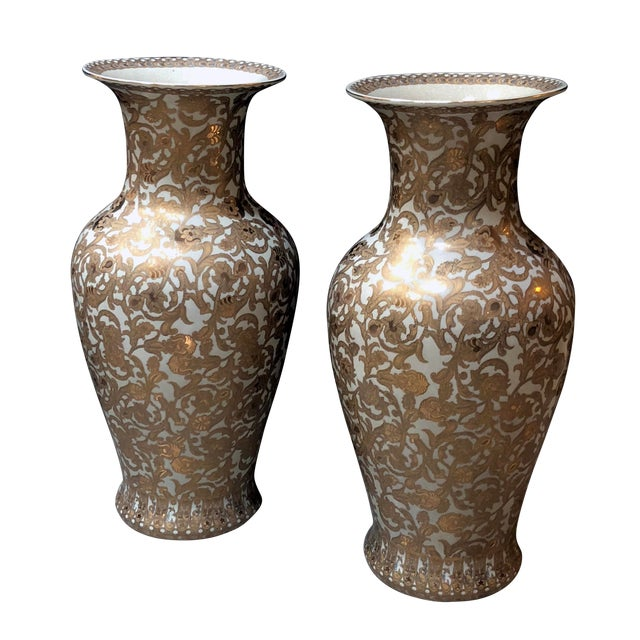 A Massive and Well-Executed Pair of Chinese Palace Vases With Gilt Floral Vine Decoration For Sale