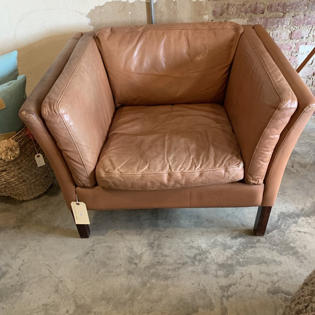 Danish Modern Stouby Leather Chair For Sale - Image 3 of 7