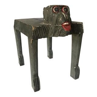 Handcarved Wood Folk Art Gorilla Footstool