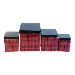 Vintage Red Nesting Plaid Tins - Set of 4 For Sale