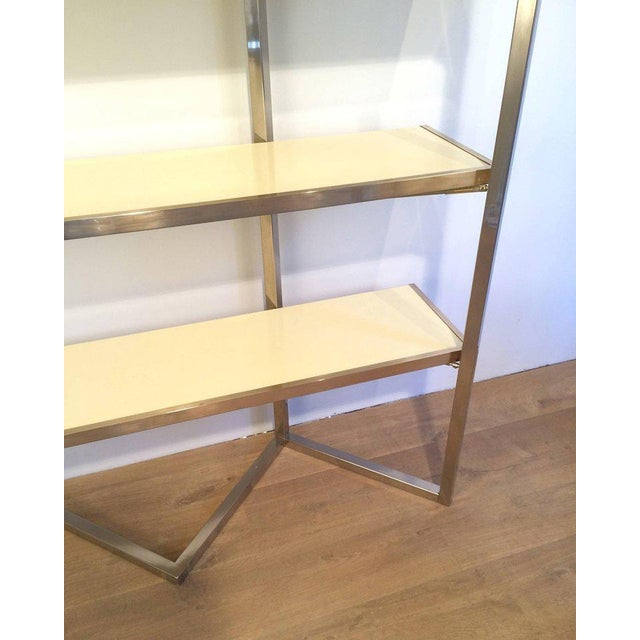 Chrome and Egg Shell Lacquered Etagere - Image 6 of 11