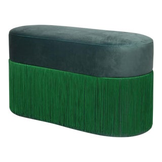 New Large Pouf Pill Green Bottle in Velvet Upholstery With Fringes by Houtique For Sale