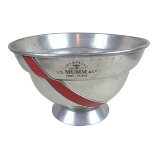 Mid 20th Century G. H. Mumm Champagne Large Pewter Cooling Bowl For Sale
