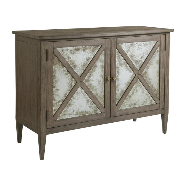 Transitional Bleached Mahogany Mirrored Buffet For Sale