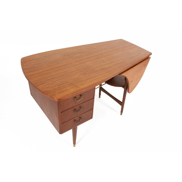 Danish Modern Biomorphic Double Drop Leaf Desk - Image 3 of 11