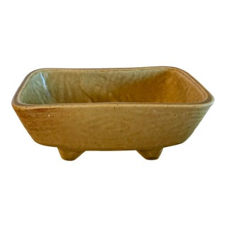 Mid Century Gold Yellow Ceramic Planter For Sale