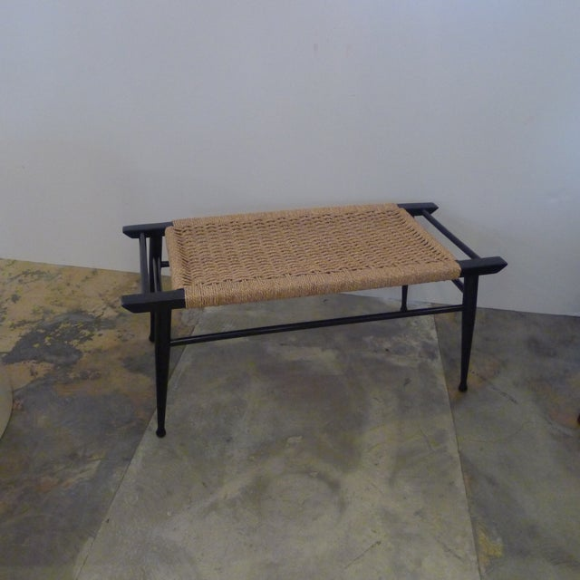 Italian Mid-Century Modern Danish Woven Rush Bench For Sale - Image 3 of 6