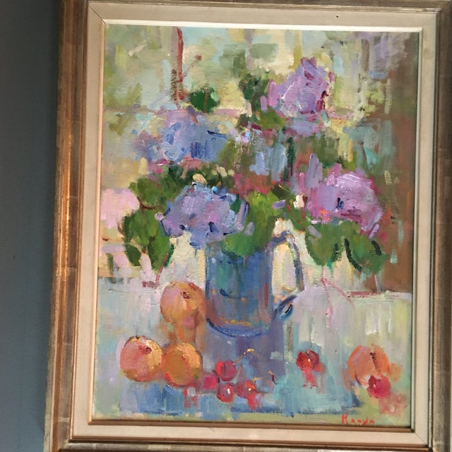 """American """"Lilacs in a Blue Jug"""" Painting by Kanya Bugreyev For Sale - Image 3 of 11"""