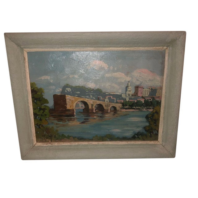 Paint Antique French Painting of the Avignon Bridge For Sale - Image 7 of 7