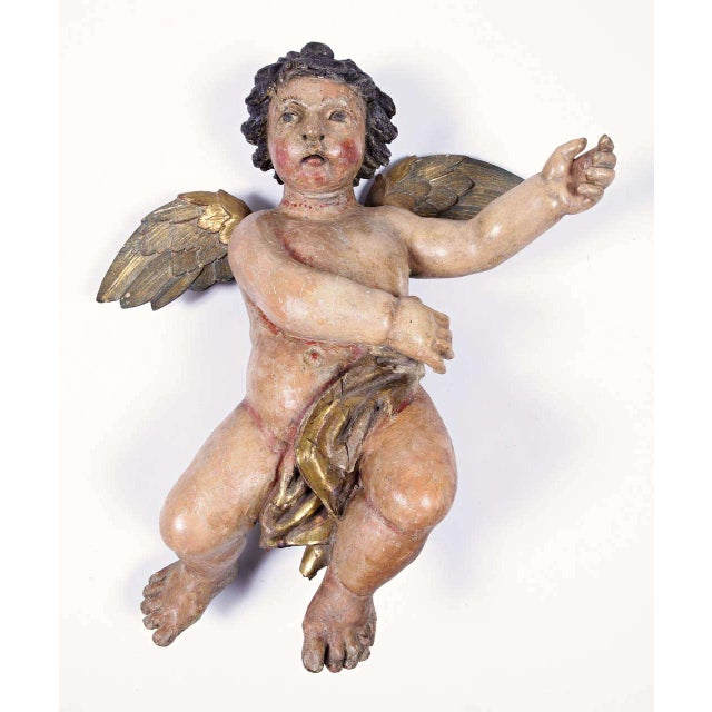 Early 18th Century Italian Carved Polychrome Cherubs with Gilt - A Pair For Sale - Image 10 of 10