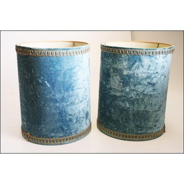 Vintage Hollywood Regency Blue Crushed Velvet Lamp Shades - A Pair - Image 5 of 10