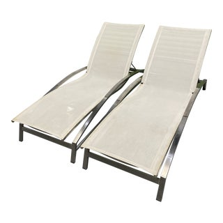 Stainless Steel and White Mesh Chaise Lounge Chairs - a Pair For Sale