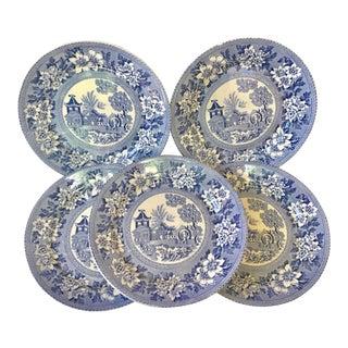 Chinoiserie Pagoda Burslem Blue & White Elephant Plates - Set of 6 For Sale