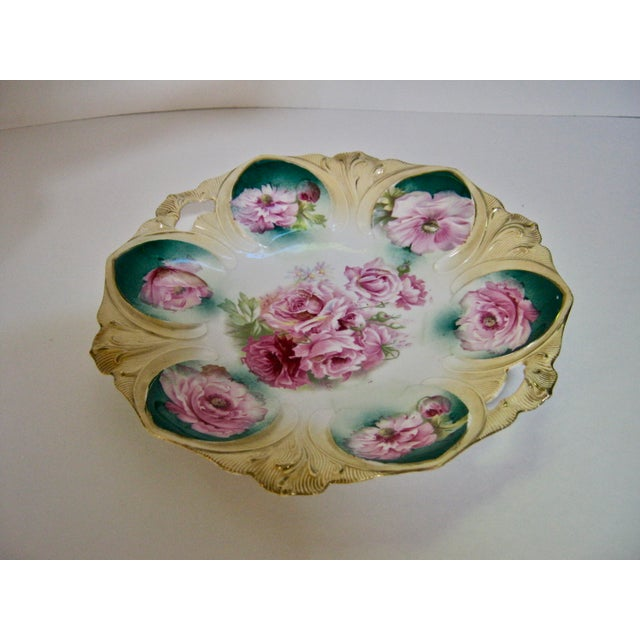 Traditional 1890s RS Prussia Hand Painted Rose Cake Dish For Sale - Image 3 of 6