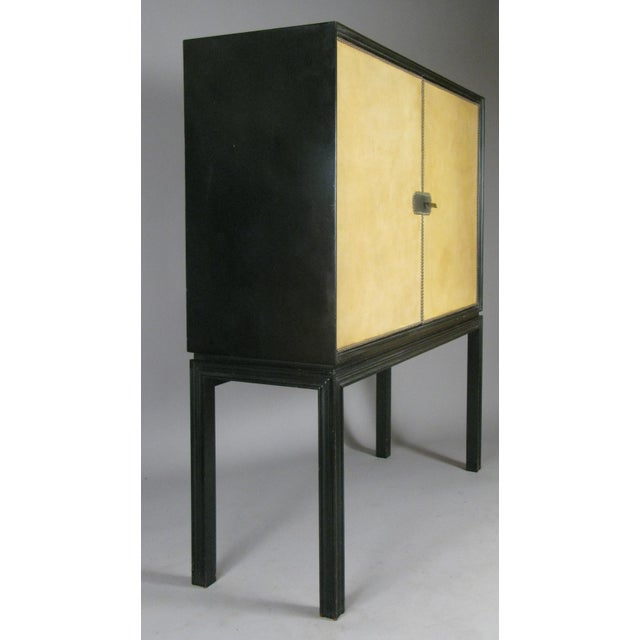 Metal 1940s Lacquered Mahogany & Leather Chest by Tommi Parzinger For Sale - Image 7 of 9