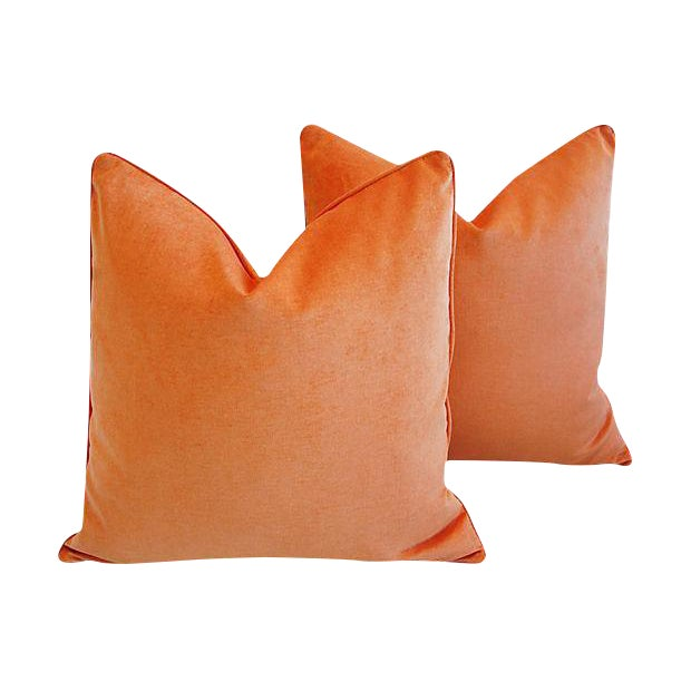 "Orange Custom Tailored Tangerine Orange Velvet Feather/Down Pillows 24"" Square - Pair For Sale - Image 8 of 8"