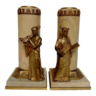 Antique Austrian Bronze Mounted Marble Vases - a Pair For Sale