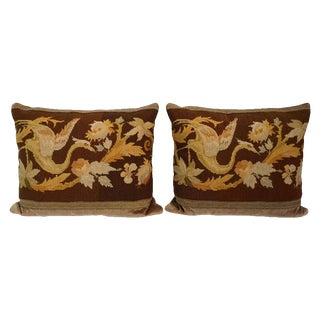 Antique English Needlepoint Pillows - a Pair For Sale