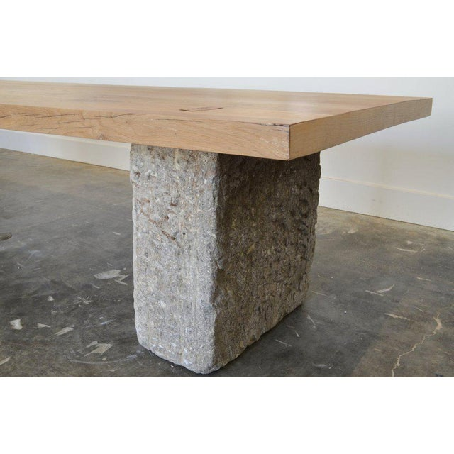 Modern Oz|shop Antique Oak and Limestone Block Long Table For Sale - Image 3 of 7