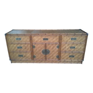1960s Boho Chic Dixie Furniture Co Faux Bamboo & Woven Wicker Dresser For Sale
