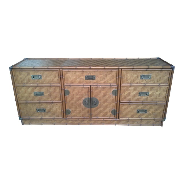 Dixie Furniture Co. Boho Bamboo & Woven Wicker Dresser For Sale
