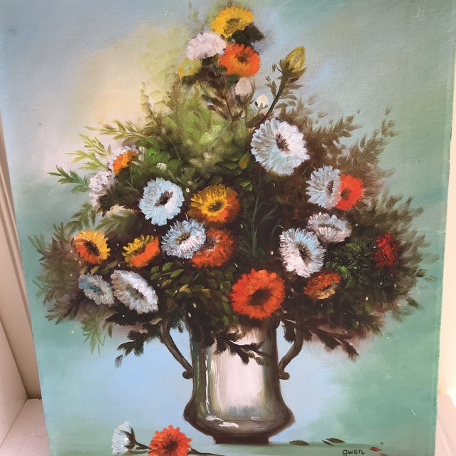 Farmhouse Vintage Vibrant Floral Painting on Canvas For Sale - Image 3 of 8