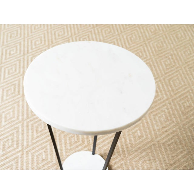 Modern Modern Patrice White Marble Top Side Table For Sale - Image 3 of 5