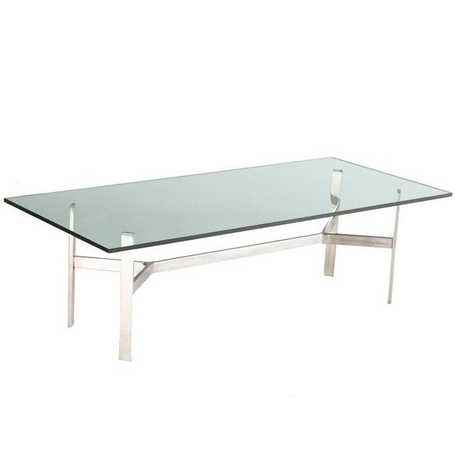 Mid 20th Century Rectangular Nickel and Glass Coffee Table For Sale - Image 5 of 5