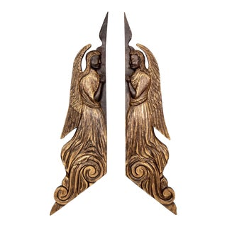 Pair Tall 19th Century Scottish Chip Carved Angels With Gilt Detail For Sale