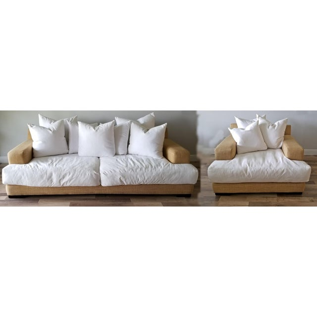 Resort Style Modern Oversized White & Sand Sofa and Chair - Set of 2 For Sale - Image 13 of 13