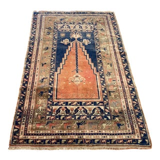 Vintage Anatolian Mihrab Design Hand-knotted Rug For Sale