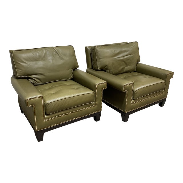 Swaim Olive Leather Club Chairs - a Pair For Sale