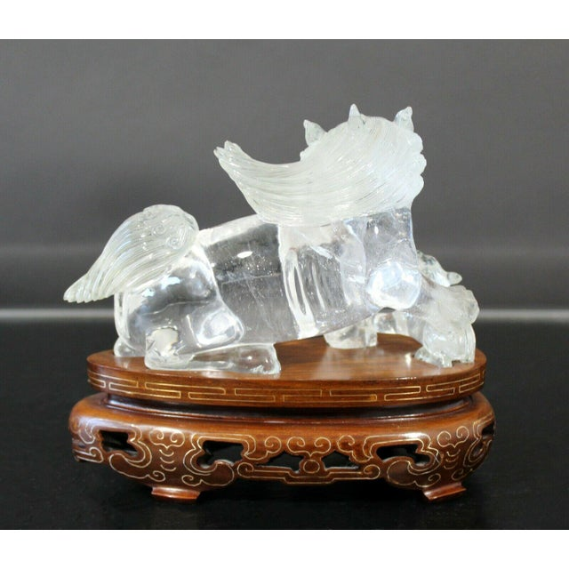 Wood Chinese Rock Crystal Glass Fu Dog Statuette Wood Base Table Sculpture For Sale - Image 7 of 11