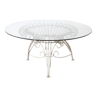 Round Metal Dining Table With Clear Glass Top, C. 1950