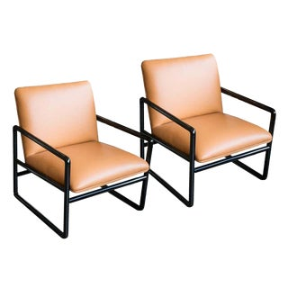 Ward Bennett Armchairs in Leather, 1960s For Sale