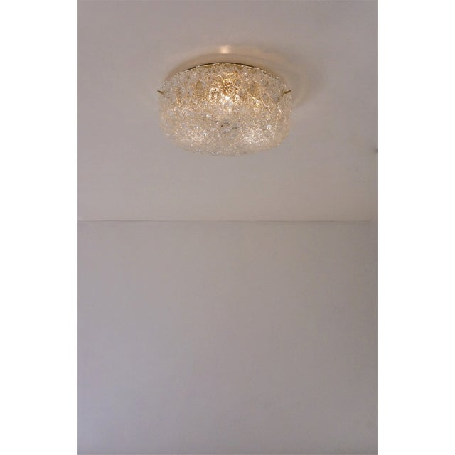 1970s Hillebrand Flush Mount Brass & Glass Shade, German For Sale - Image 6 of 11