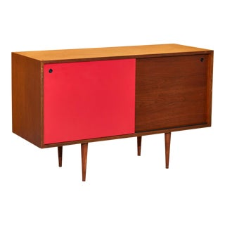 Walnut Credenza With Red Drawer For Sale