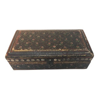 Rajhastani Hand-Painted Decorative Footed Tea Box For Sale