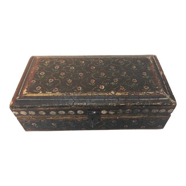 Rajhastani Hand-Painted Decorative Footed Tea Box For Sale