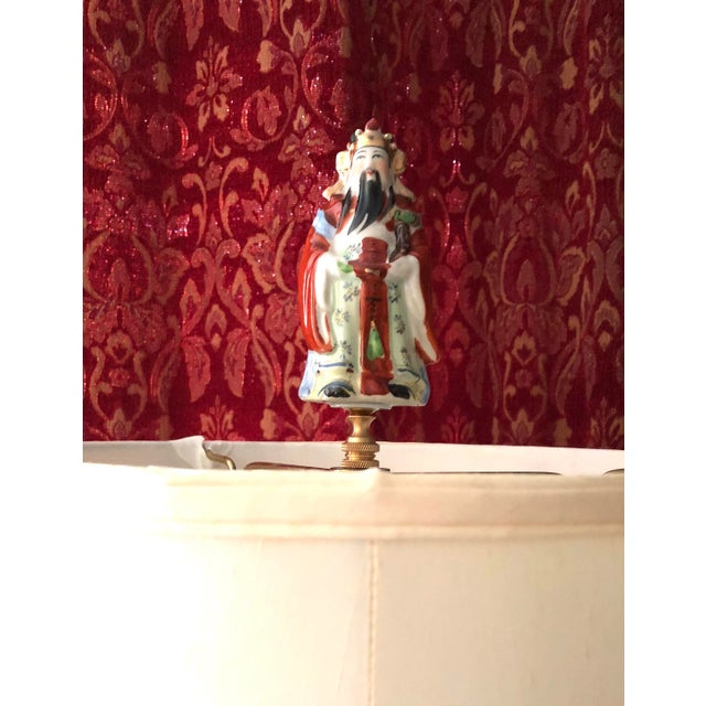 """Beautiful vintage Chinoiserie porcelain Immortal Statue finial will draw attention to your special lamp. Brass base. 5"""" by..."""