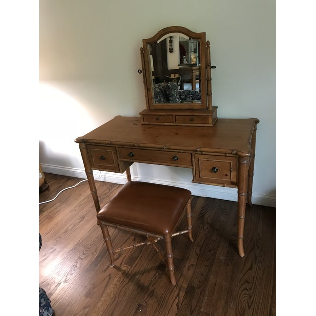 Vintage Ethan Allen British Colonial Chinese Chippendale Faux Bamboo Desk Vanity For Sale - Image 13 of 13
