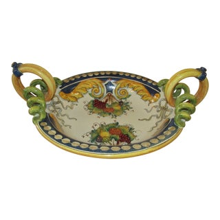 Large Italian Ceramic Decorative Bowl, Fruit Bowl For Sale