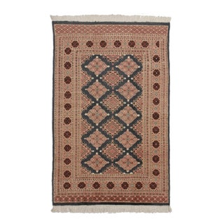 Hand Knotted Wool & Silk Bokhara Rug - 3′11″ × 6′1″ For Sale