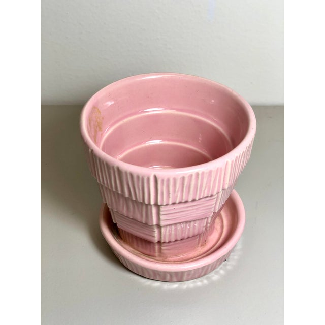 "McCoy Pottery 1940s - 1960s ""Pink"" Mid Century Flower Pot And Attached Saucer Bark Basket Weave Design, Extra Small, Pink..."
