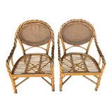 Image of 1980's Vintage McGuire Twisted Rattan Chairs- Pair For Sale
