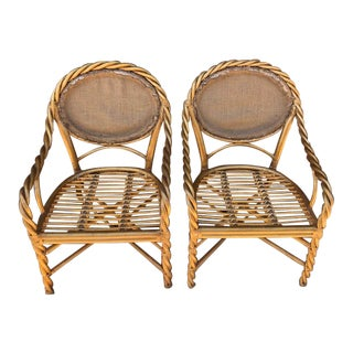 1980's Vintage McGuire Twisted Rattan Chairs- Pair For Sale