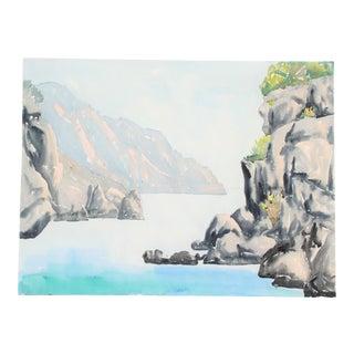 Original Vintage Nordic Waters Watercolor Painting For Sale