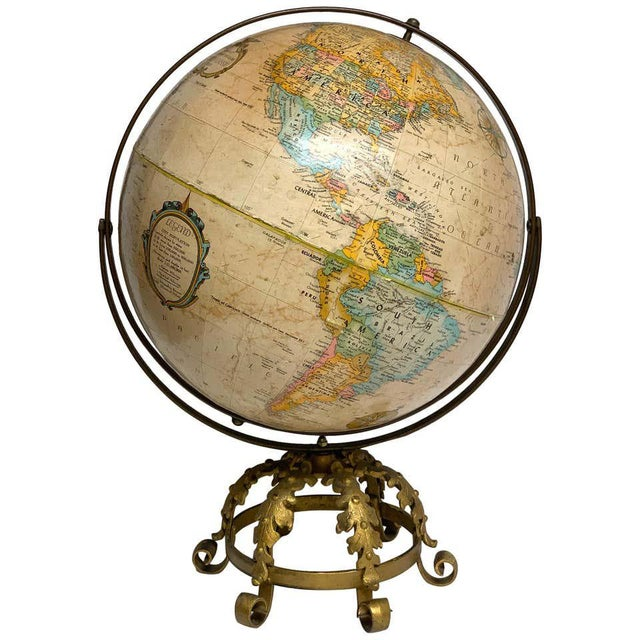 Pre Wwii Globe on Art Deco Wrought Iron Stand by Repogle For Sale - Image 13 of 13