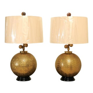 Sophisticated Restored Pair of Etched Brass Sphere Lamps, circa 1960 For Sale