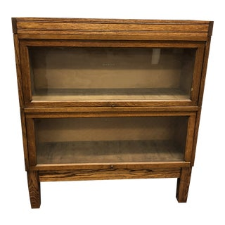 Vintage Industrial Wood Barrister Bookcase by Shaw Walker For Sale